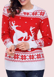 ByChicStyle Red Floral Print Round Neck Long Sleeve Pullover Sweater