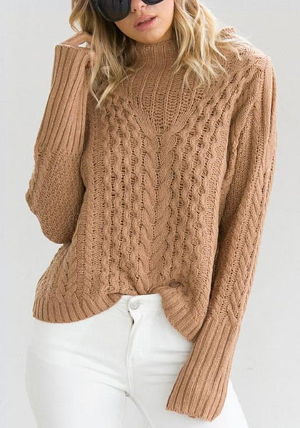 Camel Cut Out Band Collar High Neck Long Sleeve Pullover Sweater