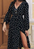 ByChicStyle Black Polka Dot Cut Out V-neck Long Sleeve Midi Dress