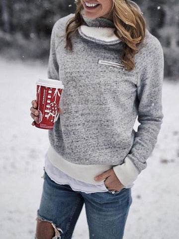 New Grey Zipper High Neck Long Sleeve Casual Sweatshirt
