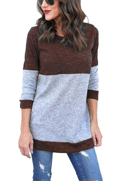 Brown Striped Print Round Neck Long Sleeve Fashion T-Shirt