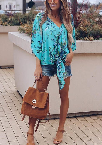 Green Floral Sashes Irregular V-neck Fashion Chiffon Blouse