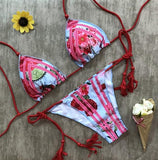 ByChicStyle Red Floral Condole Belt 2-in-1 Polyester Swimwear