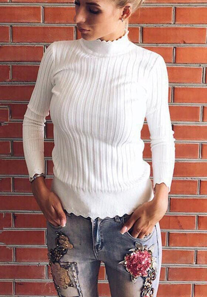 White Ruffle High Neck Casual Pullover Sweater