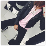ByChicStyle Pink Plain Lace Up Cut Out Long Sleeve Fashion Casual Sweatshirt