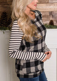ByChicStyle Black-White Plaid Striped Pattern Round Neck Long Sleeve Casual T-Shirt