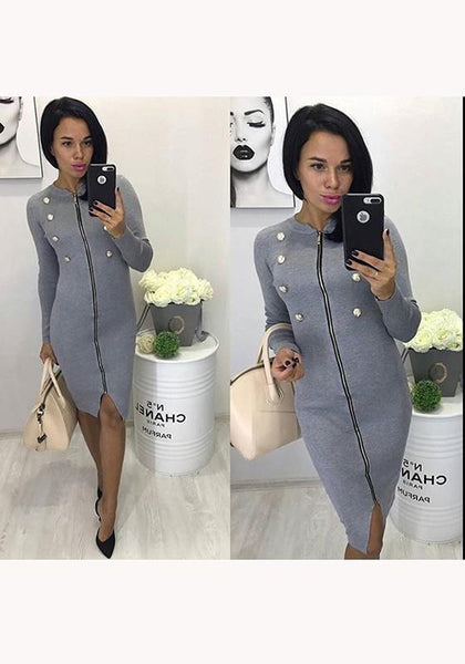 Grey Plain Zipper Double Breasted V-neck Fashion Midi Dress