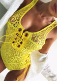 ByChicStyle Yellow Patchwork Cut Out Drawstring Fashion Short Jumpsuit