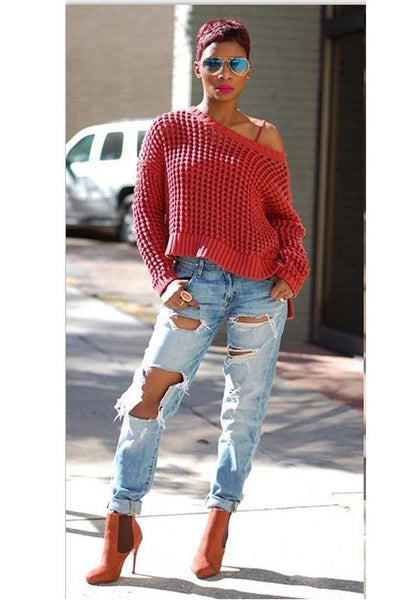 Red Cut Out Fishnet Asymmetric Shoulder High-Low Cute Pullover