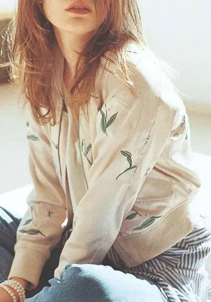 Beige-Green Floral Patchwork Embroidery Zipper Pockets Long Sleeve Coat