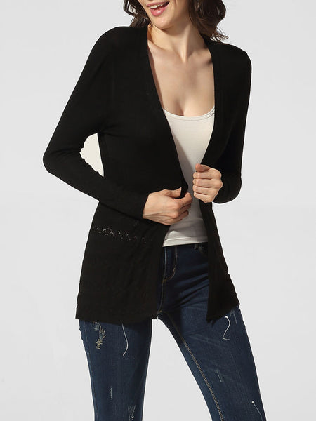 Collarless Embossed Design Plain Cardigan - Bychicstyle.com