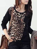 ByChicStyle Leopard Printed Patchwork Long-sleeve-t-shirt - Bychicstyle.com