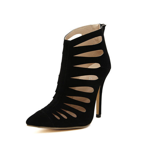 Casual Black Hollow Out Stripe Pointed Toe High Heel Zipper Sude Ankle Boots