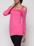 ByChicStyle Hollow Out Plain Off Shoulder Long Sleeve T-shirt - Bychicstyle.com