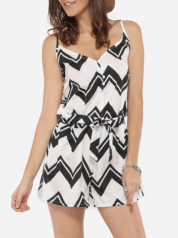 Loose Fitting Dacron Printed Zigzag Striped Rompers - Bychicstyle.com