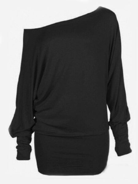 Exquisite Asymmetric Neckline Plain Long-sleeve-t-shirt - Bychicstyle.com