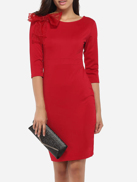 Bowknot Round Neck Dacron Plain Bodycon Dress - Bychicstyle.com