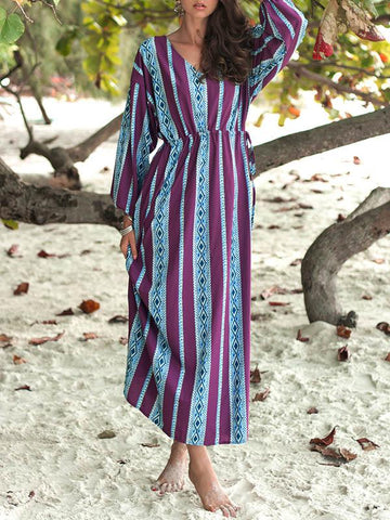 Striped Printed V-neck Belted Maxi Dress