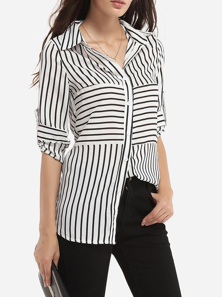 Single Breasted Polo Collar Dacron Striped Blouse - Bychicstyle.com