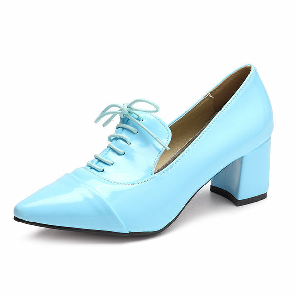 Casual Big Size Pointed Toe Pu Pure Color Office Work Lace Up Square Heel Shoes