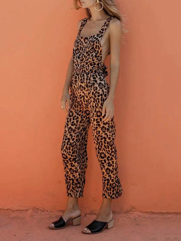 Leopard Printed Crossover Strap of Back Jumpsuits