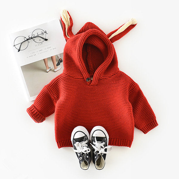 Casual Cute Hooded Pure Color Sweatshirts For Baby