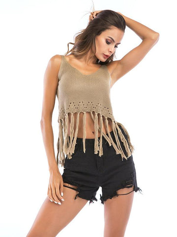 2019 Short Style Sleeveless Fringed Top