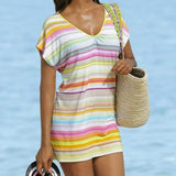 ByChicStyle Casual New Women White Striped Color Block Ruffle V-neck Short Sleeve Mini Dress