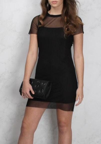 Casual New Women Black Patchwork Grenadine Condole Belt Short Sleeve Fashion Mini Dress