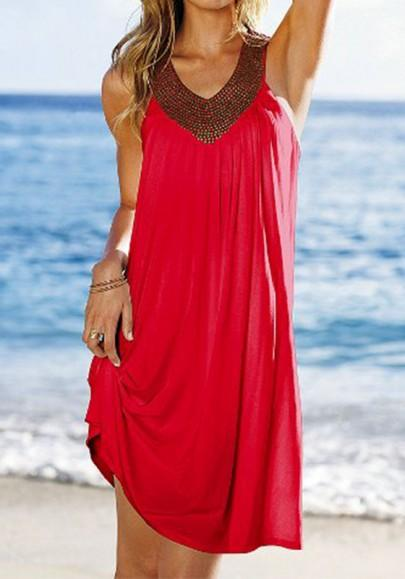 Casual New Women Red Plain Pleated Sequin Outdoors Mini Dress