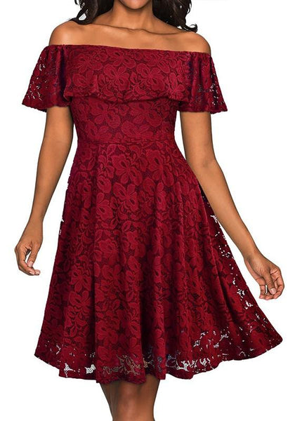 Burgundy Floral Lace Ruffle Pleated Off Shoulder Homecoming Wedding Elegant Skater Midi Dress