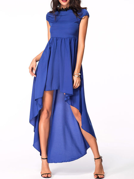 crew neck dip hem plain maxi dress - Bychicstyle.com