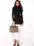 ByChicStyle Turtleneck Patchwork Decorative Button Long Sleeve T-shirt - Bychicstyle.com