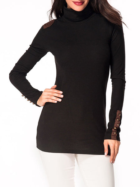 Turtleneck Patchwork Decorative Button Long Sleeve T-shirt - Bychicstyle.com