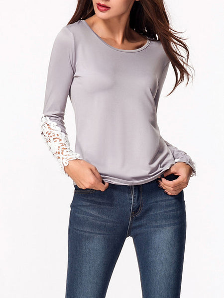 Round Neck Patchwork Hollow Out Long Sleeve T-shirt - Bychicstyle.com