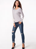ByChicStyle Round Neck Patchwork Hollow Out Long Sleeve T-shirt - Bychicstyle.com