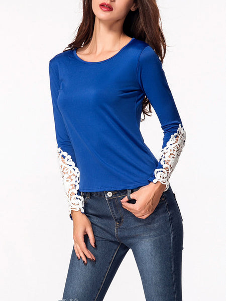 Casual Round Neck Decorative Lace Hollow Out Long Sleeve T-Shirt