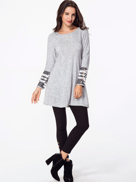 Decorative Buttons Knit Geometric Printed Long Sleeve T-shirt - Bychicstyle.com