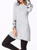 ByChicStyle Decorative Buttons Knit Geometric Printed Long Sleeve T-shirt - Bychicstyle.com