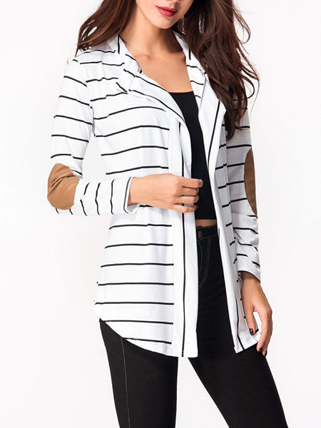 Lapel Patchwork Striped Cardigan - Bychicstyle.com