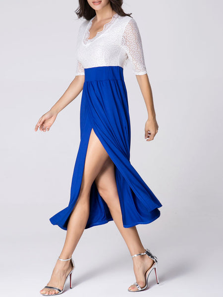 Casual Asymmetric Neck Patchwork High-slit Hollow Out Color Block Maxi Dress