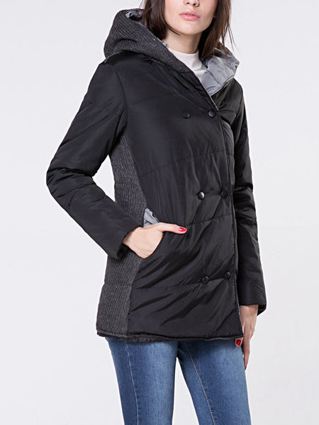 Hooded Double Breasted Pocket Padded Coat - Bychicstyle.com