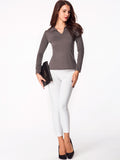 ByChicStyle V Neck Plain Long-Sleeve-T-shirt - Bychicstyle.com