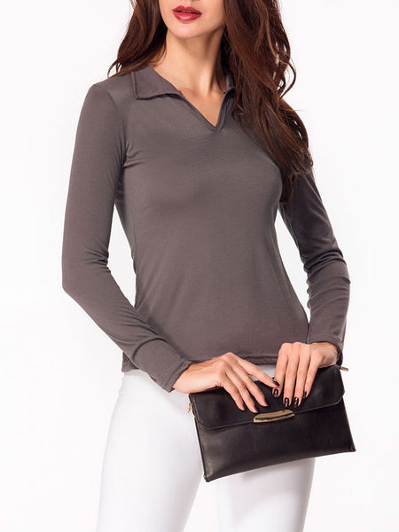 V Neck Plain Long-Sleeve-T-shirt - Bychicstyle.com