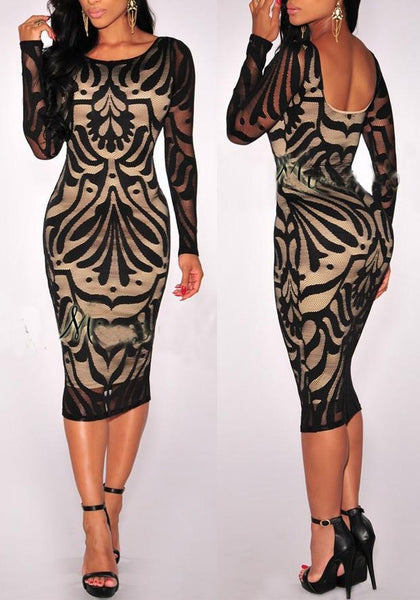 Black Lace Backless Bodycon Round Neck Elegant Party Midi Dress