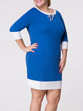 ByChicStyle Casual Round Neck Bowknot Color Block Plus Size Shift Dress