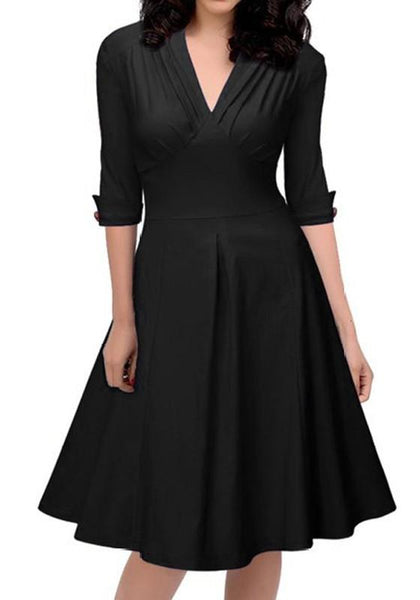 Black Pleated Buttons V-neck Elbow Sleeve Vintage Midi Dress