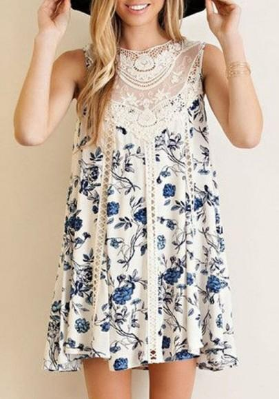 Casual New Women White Patchwork Lace Floral Draped Sleeveless Fashion Mini Dress