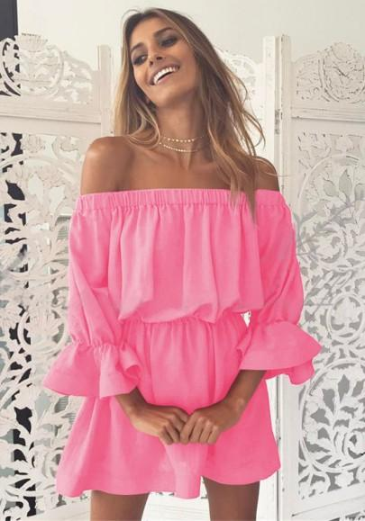 Casual New Women Pink Ruffle Boat Neck 3/4 Sleeve Fashion Mini Dress