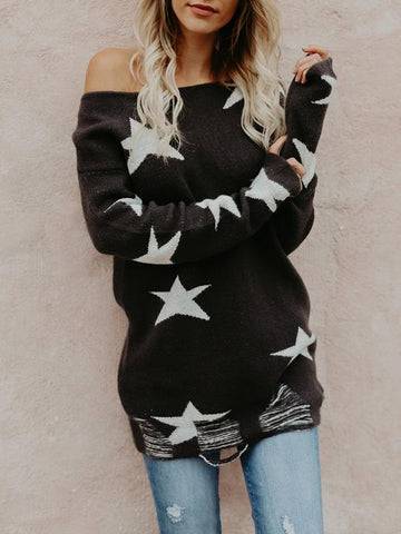Stars Printed Off-the-shoulder Sweater Tops